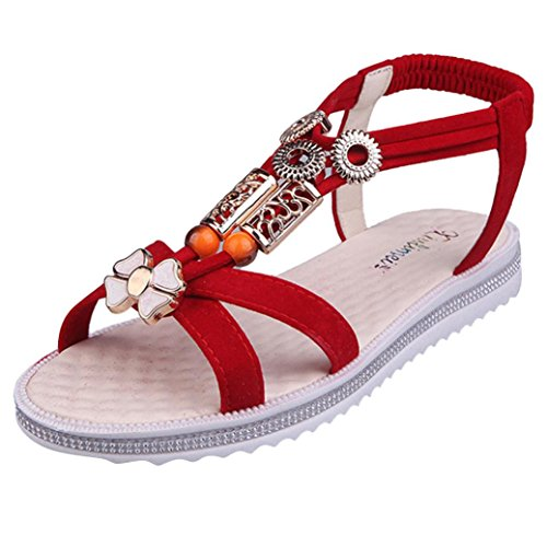 Jamicy Women Ladies Summer Flat Strappy Low Heel Wedge Ankle Sandals Shoes Red