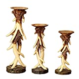 Elegant Vintage Resin Antlers Candlestick Carving Fine Crafts Pattern Wedding Decor Candle Holder Art Sculpture Three-piece Set