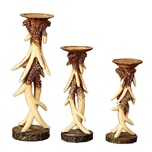 Elegant Vintage Resin Antlers Candlestick Carving Fine Crafts Pattern Wedding Decor Candle Holder Art Sculpture Three-piece Set by DEAI (Image #6)'