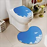 L-QN Soft Toilet Mat 2 Pieces Set Collection Cloud Frame Skylight to Clear Sky Sunny Day Decorative Nature Picture Scene Machine-Washable