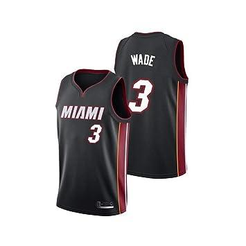 WSF Jersey Jerseys del Baloncesto Miami Manga de Dwyane Wade 3 ...
