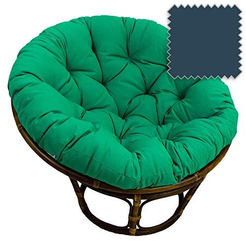 42-Inch Bali Rattan Papasan Chair with Cushion - Solid Twill Fabric, Indigo - DCG Stores Exclusive (Rattan Bowl Chair)