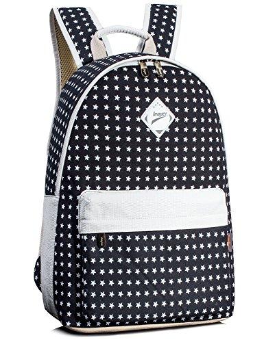 Leaper Cute Stars 14 Inch Laptop Backpack Bookbags Travel Daypack Black