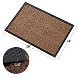 "Large Outdoor Door Mats Rubber Shoes Scraper for Front Door Entrance Outside Doormat 24""x 36"" Patio Rug Dirt Debris Mud Trapper Waterproof Out Door Mat Low Profile Washable Carpet Brown Amagabeli"