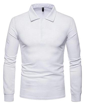 dahuo - Polo - Manga Larga - para Hombre Blanco Blanco M: Amazon ...