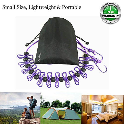 Adjustable Elastic Clothesline with Clips and Positioning Balls, Portable Retractable Windproof Laundry Hanging Rope for Travel Camping Indoor Use, Anti-Skid Washing Line with Drawstring Bag,Purple