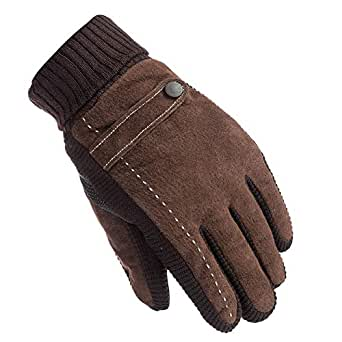 Winter Warm Leather Gloves, Men's Non-Slip RidingDriving