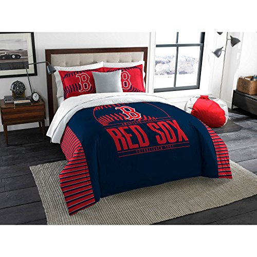 (A&L 3 Piece Red Sox Comforter Set King, Navy Baseball Themed Bedding Sports Pattern Team Logo Fan Merchandise Athletic Team Spirit Fan Casual Comfortable Red, Polyester)