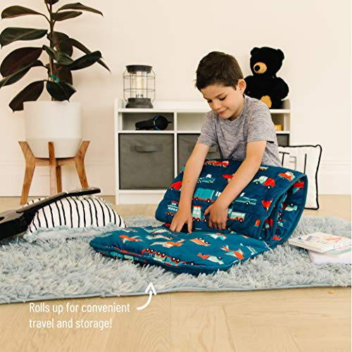 Wildkin Kids Plush Nap Mat for Toddler Boys & Girls, Ideal for Daycare and Preschool, Features Attached Blanket, Velour Wild Bunch Nap Mat Sack Measures 57.5 x 20 x 1.5 Inches,BPA-Free(Transportation)