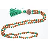 Necklace 108 Healing Mala Beads Mlachite Yoga Rudraksha Energy Japamala