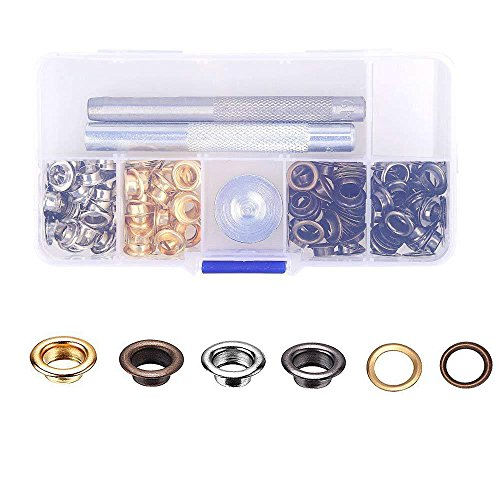 Eyech 120pc Set Eyelets Grommet Kit Grommets & Eyelet for Canvas Clothes Leather Self Backing 1/4 Inch ()