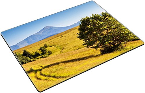MSD Place Mat Non-Slip Natural Rubber Desk Pads design 29858915 l Fantastic yellow hills with summer blue sky Carpathian Ukraine Europe Beauty world (Summer Fabrics Hill)
