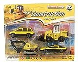 Die-cast Metal 4 Piece Tough Construction Play Set ~ Construction Cars and Equipment (Work Van, Digger, Bulldozer, Speedster Car)