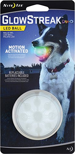 Nite Ize GlowStreak LED Dog Ball, Bounce-Activated Light Up Dog Ball, Replaceable Batteries, Disc-O Color Changing LED
