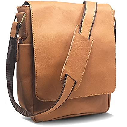 fbaa487705e Image Unavailable. Image not available for. Color  Vintage Look Leather  Tablet Man Bag, Sling Bag, Crossbody Messenger Satchel (3 Soft