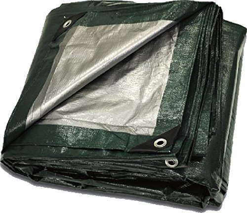 12' x 25' Heavy Duty Green Silver Poly Tarp by CCS