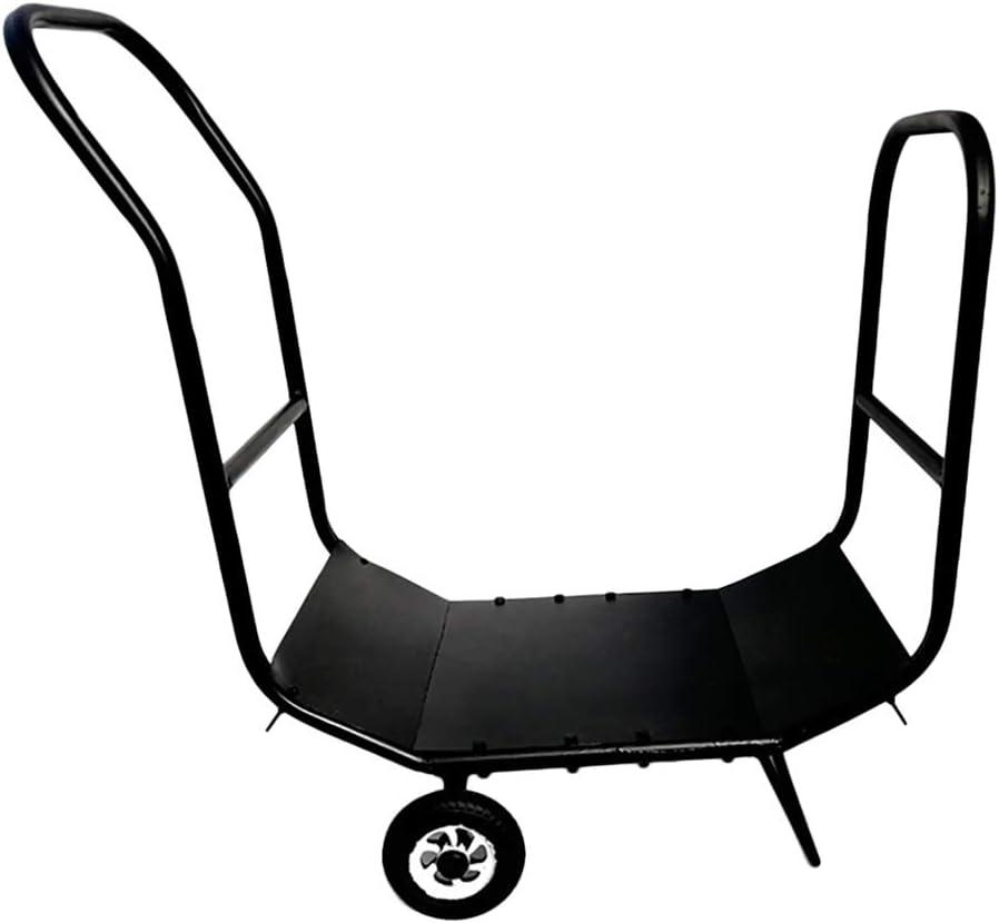 Soporte para leña Leña Entrar Carrito Carrier - Madera Exterior O Interior Mover Transportador De Almacenamiento En Rack Con La Rueda Del Balanceo, Negro, 76,5 × 35 × 77cm (Color : Black)