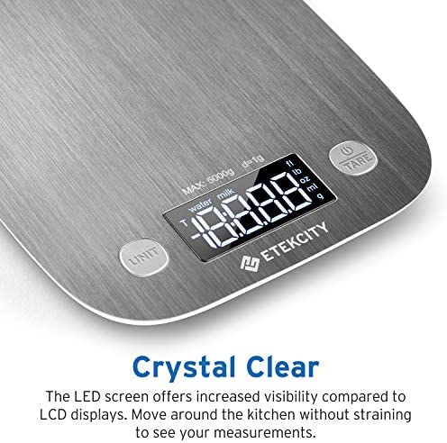 Etekcity Food Scale, Digital Kitchen Weight Grams and Ounces for Baking and Cooking, Medium/LED Display, Silver Stainless Steel 6