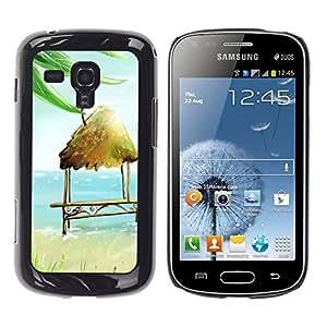 TopCaseStore / la caja del caucho duro de la cubierta de protección de la piel - Beach Hut Bench Chair Art Blue Sea Summer - Samsung Galaxy S Duos S7562