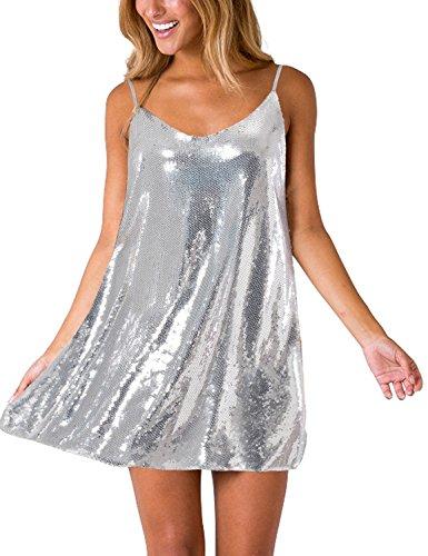 Lookbook Store LookbookStore Women's Sexy Silver V Neck Sequin Glitter Slip Mini Dress Sleeveless Spaghetti Strap Club Party Dress Size M