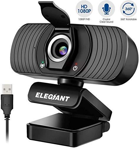 🥇 ELEGIANT Webcam Cámara Web 1080P HD PC Cámara de Ordenador con Micrófono y Cubierta de privacidad Cámara para Skype FaceTime Youtube Estudio en Línea Llamada PC para Juegos Ordenador Portátil