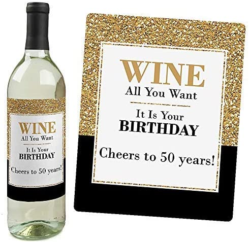 Adult 50th Birthday Gold Birthday Party Gift For Women And Men Wine Bottle Label Stickers Set Of 4 Kitchen Dining Amazon Com