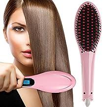 ChiTronic® Women Hair Quick Straightener Electric Ceramic Rebonding Comb Brush Head Massager, °F/°C LCD Accurate Temperature Control (U.S. Plug, Pink)