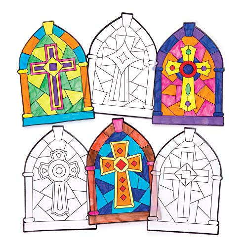 Stained Glass Cross Craft (Baker Ross Cross Color in Window Stained Glass Decorations (Pack of 12) AW297, for Kids to Decorate and)