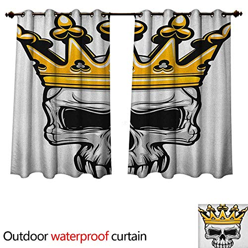 Anshesix King Outdoor Balcony Privacy Curtain Hand Drawn Crowned Skull Cranium with Coronet Tiara Halloween Themed Image W72 x L63(183cm x 160cm)