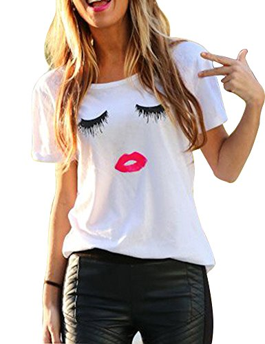 - FV RELAY Women's Summer Cute Eyelash Lip Print Tee Casual Teen Girls T Shirts (M, White)