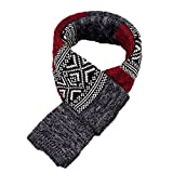 GITVIENAR Men's Wool Scarf Knited Stripe Plaid Business Casual Winter Warm Scarves Neckwear