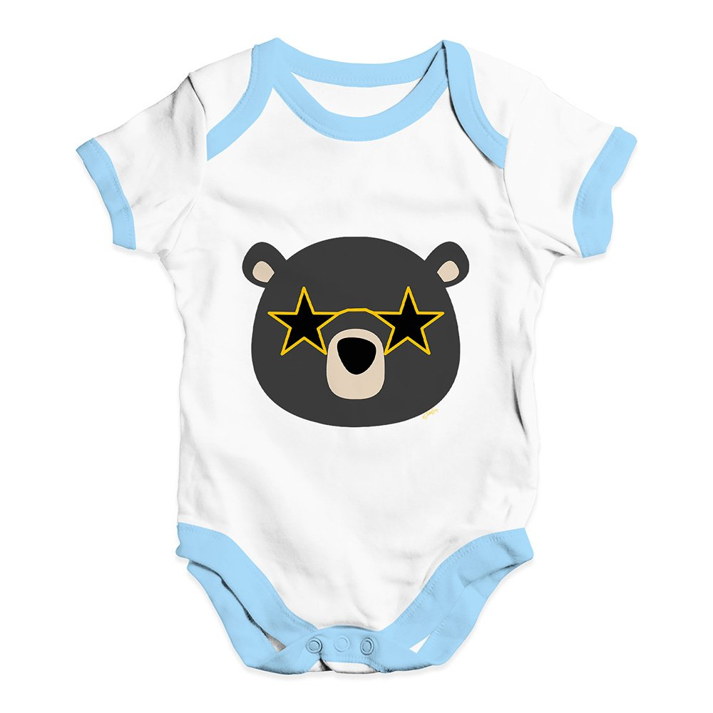 TWISTED ENVY Baby Girl Clothes Disco Glasses Bear Baby Unisex Baby Grow Bodysuit New Born White Blue Trim