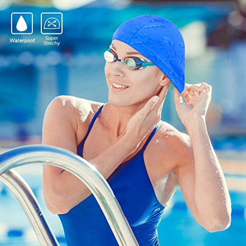 Nlife Large Lycra Swim Cap Fabric Waterproof Swimming Hat for Long, Thick, or Curly Hair for Adult Men Women With/Without Nose Clip and Ear Plugs …