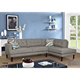 Beverly Fine Furniture SH6002B Emeral Right Facing Linen Sectional Sofa, Gray
