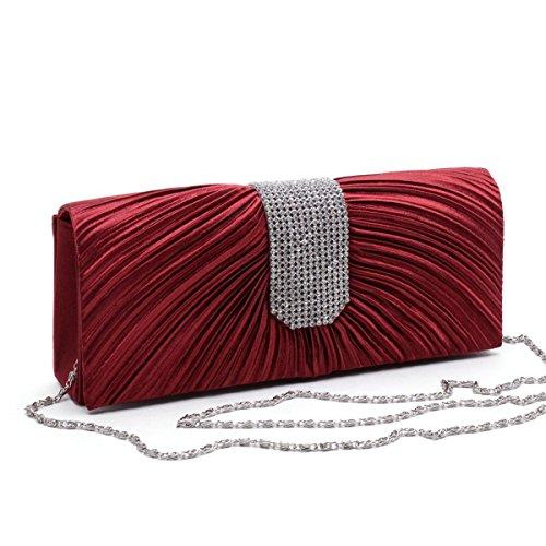 Las Mujeres De Raso Plegado Bolso De Noche Embrague Bolso La Bolsa De Diamantes De Imitación Multicolor Red