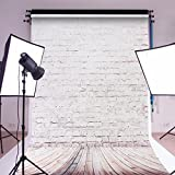 MOHOO 5X7ft Cotton Polyster Photography Background Beige Brick Wooden Floor Photography Backdrop Collapsible and Washable Studio Prop Background (Updated Material)No Wrinkle