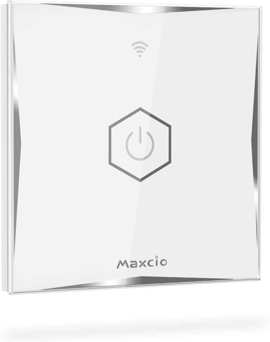 WiFi Interruptor de Luz 2 V/ías Maxcio Conmutador T/áctil WiFi Compatible con Alexa Echo//Dot//Tap Interruptor de Pared Inteligente con Temporizador【Se necesita Neutro】 Google Home