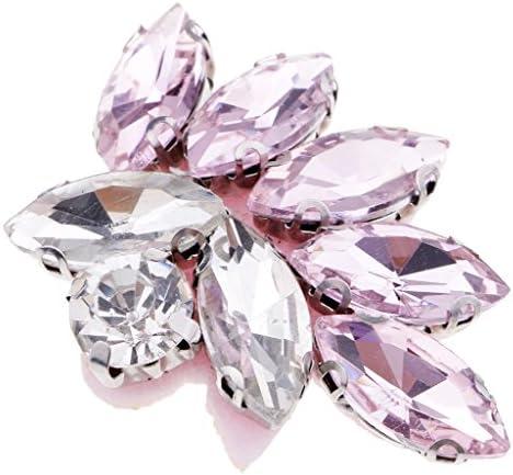 パッチ アップリケ ガラス ラインストーン ビーズ 衣類/袋装飾 DIY 蝶 全5色 - ピンク