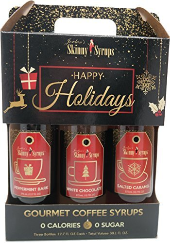 Jordans Skinny Syrups Happy Holidays Gourmet Coffee Syrups - Variety Pack of 3 - Salted Caramel, White Chocolate, Peppermint Bark - (packaging may very)