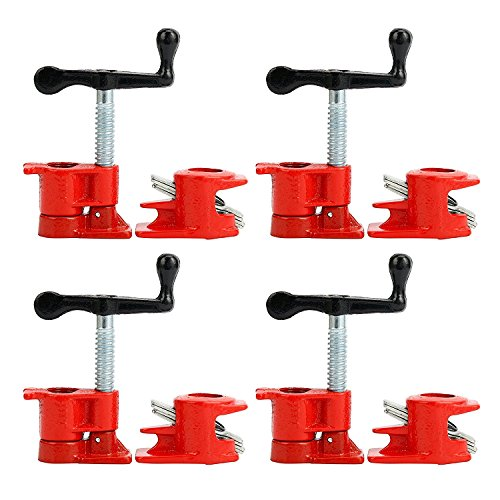 """(4 Pack) 3/4"""" Wood Gluing Pipe Clamp Set Heavy Duty PRO Woodworking Cast Iron"""