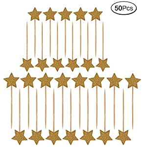 50 Pieces Stars Cake Topper Cover Glitter Birthday Cake Decoration Toppers Decoration Cocktail Sticks Star for Birthdays