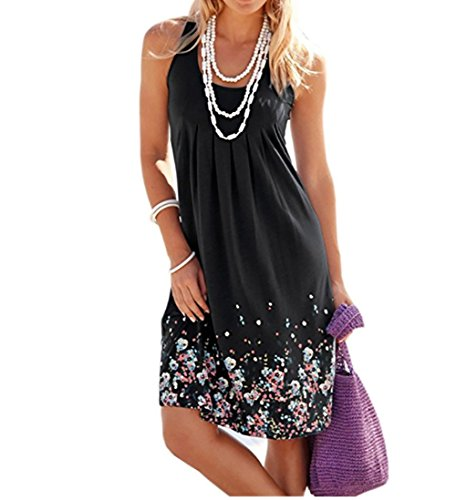 Hello Today Womens Beach Long Sleeve Floral Printed Casual Tunic Dress Sleeveless Printed Vest Floral Summer Sundress