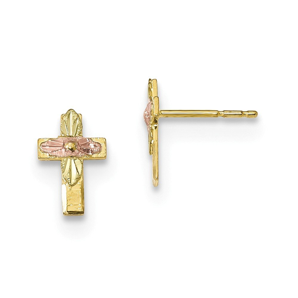 10k Yellow Gold Tri-Color Black Hills Gold Cross Stud Earrings by Diamond2Deal