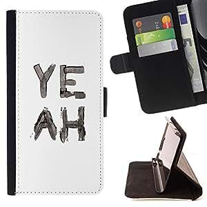 BullDog Case - FOR/HTC One M7 / - / yeah watercolor white black text /- Monedero de cuero de la PU Llevar cubierta de la caja con el ID Credit Card Slots Flip funda de cuer