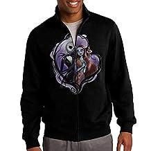 Zepu Men's Sweatshirt Anime Nightmare Before Christmas Full-zip Hoodie Jacket Black