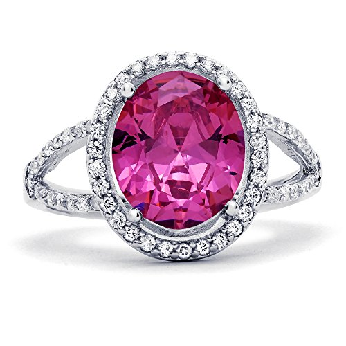 Sterling Silver Oval Simulated Pink Sapphire with Clear Cubic Zirconia Ring, 17mm (9)