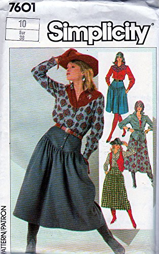 (Simplicity Sewing Pattern 7601 Misses Western Skirt Shirt and Vest Size 10)