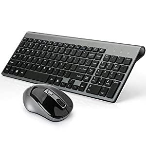 joyaccess wireless keyboard and mouse combo full size compact for pc black. Black Bedroom Furniture Sets. Home Design Ideas