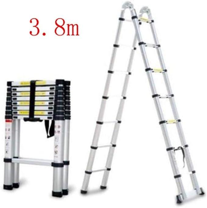 WLG Escalera de mano, aleación de aluminio Escalera en espiga Escalera telescópica de elevación portátil de bambú para el hogar Escalera de ingeniería,4.6m: Amazon.es: Bricolaje y herramientas