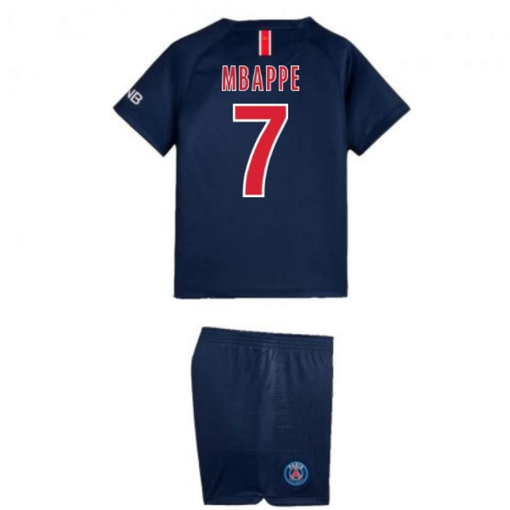 UKSoccershop 2018-2019 PSG Home Nike Little Boys Mini Kit (Kylian Mbappe 7)